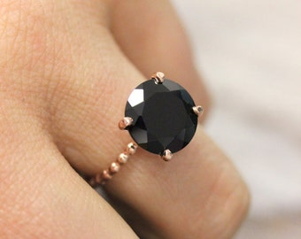 Black Spinel Party Ring // Black Gemstone Cocktail Ring made in 14k Rose Gold // Delicate and Bold Ring and Made in Your Size
