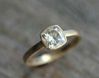Yellow Gold Engagement Ring, Forever Brilliant Moissanite Engagement Ring, Ethical Wedding , Non diamond Alternative