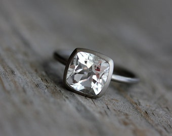 White Topaz Cushion Solitaire in 14k Palladium White Gold Ring, Made to Order