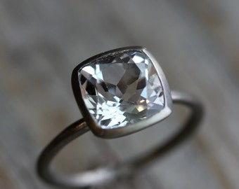 White Topaz Cushion Solitaire in 14k Palladium White Gold Ring, Ready To Ship Size 5.5