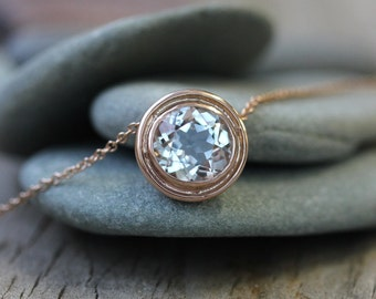 Rose Gold and White Topaz HALO Slide Necklace