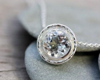 White Topaz HALO Slide Necklace in Sterling Silver, Vintage Inspired Slide Pendant