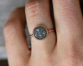 Man in the Moon 14k Rose Gold and Black moonstone Ring