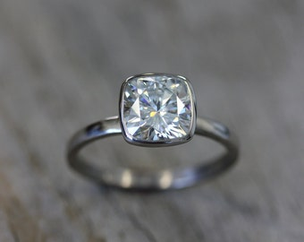Moissanite Ring, 14k White Gold Ring, Cushion Moissanite, Engagement Ring, Diamond Alternative Ring, Eco Friendly // Conflict Free