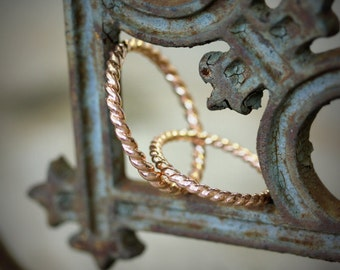 14k Rose Gold Wedding Band Set, Recycled Gold Nautical Art Deco Design