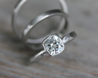 Size 5.5, Forever Brilliant Moissanite Engagement Ring, White Gold Engagement Ring, Cushion Shape, Non Diamond Ring