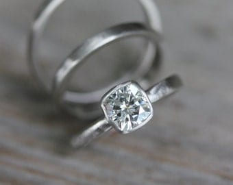Forever Brilliant Moissanite Engagement Ring, White Gold Engagement Ring, Cushion Shape, Non Diamond Ring