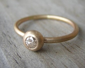 Champagne Diamond and 14k Gold Solitaire, Conflict Free
