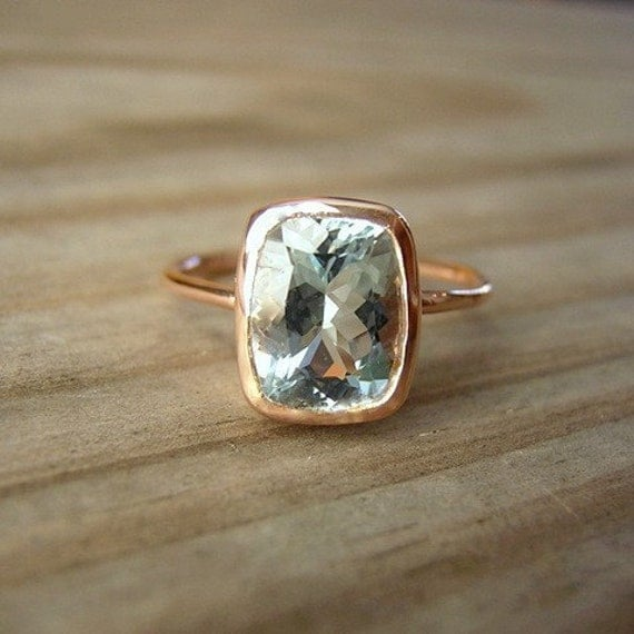 Aquamarine Cushion in 14k Rose Gold, Custom Made in Your Size