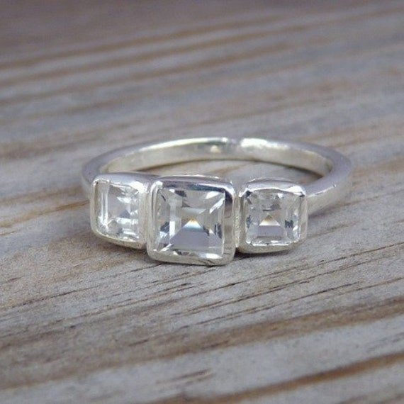 Fit For  A Princess 3 Stone Square Ring, White Topaz and Argentium Silver, SIZE 9