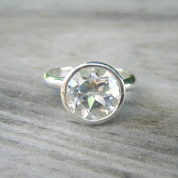 ROCK FETISH White Topaz Ring in Sterling, Made to Order