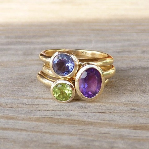 14k Gold Gemstone Stacking Ring Set, Recycled Gold Rings in Iolite, Peridot, Amethyst Ring, Statement Ring
