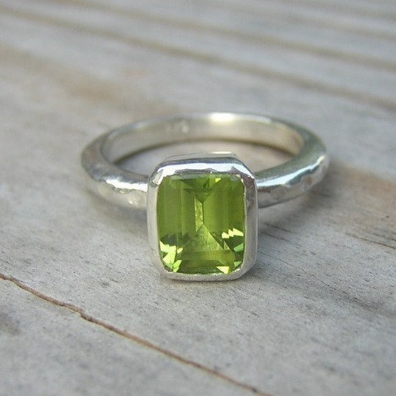 items similar to emerald cut peridot solitaire ring on etsy