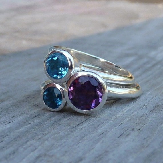 Sweet Berry Stacking Set in Argentium Sterling, Made to Order