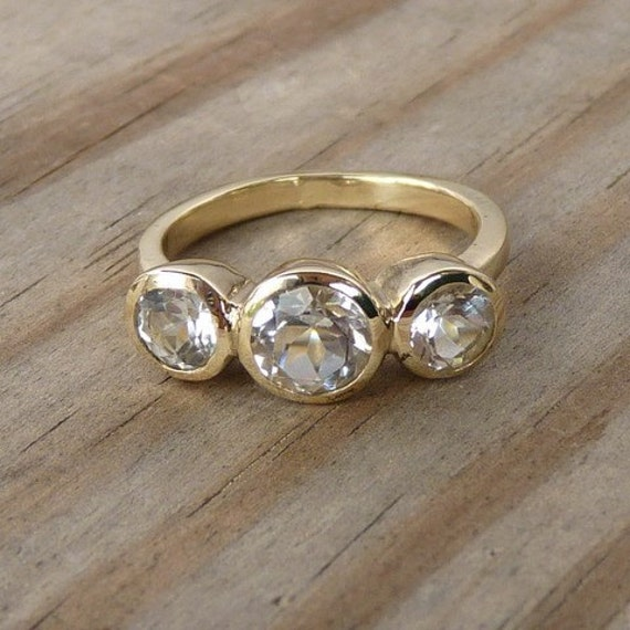 14k Gold and Moissanite Three Stone or Engagement Ring, Made to Order for Kim