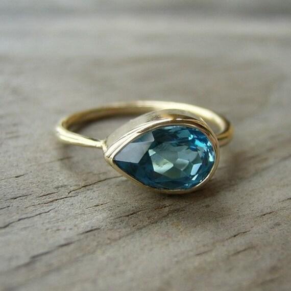 Custom for Jay, WHITE  Topaz Sideswept Ring in 14k Yellow Gold