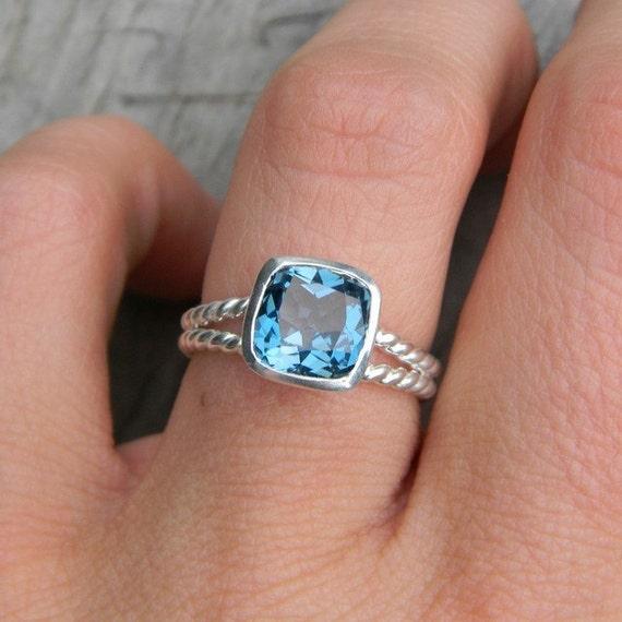 Custom SWISS BLUE TOPAZ gemstone Rapunzel Ring for Kurroh