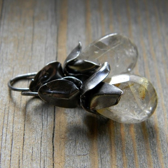 Golden Rutilated Quartz and Recycled Sterling Silver Earrings, Made To Order