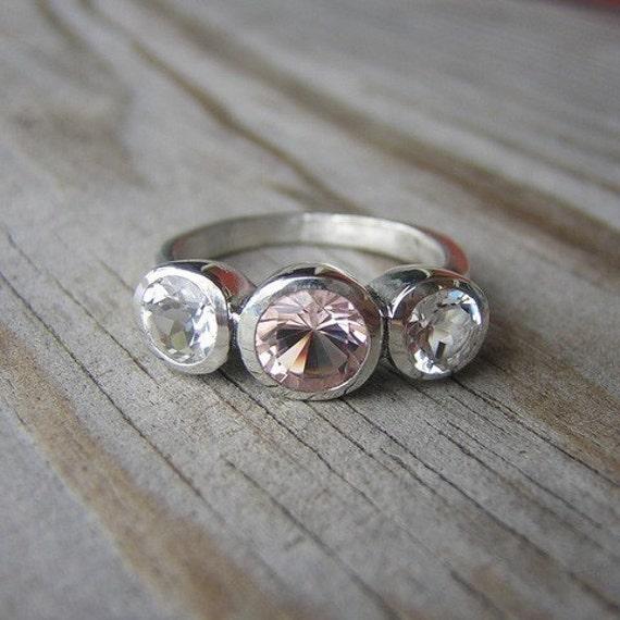 morganite gemstone ring custom made recycled silver ring
