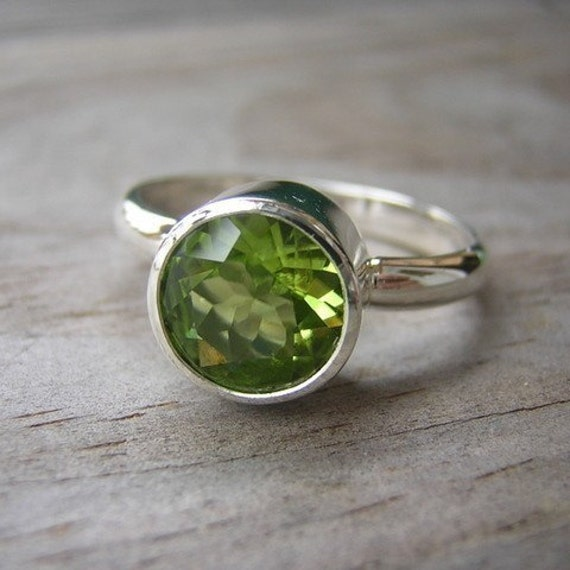 Large Green Peridot Gemstone Rock Fetish in Recycled Sterling Silver, August Birthstone