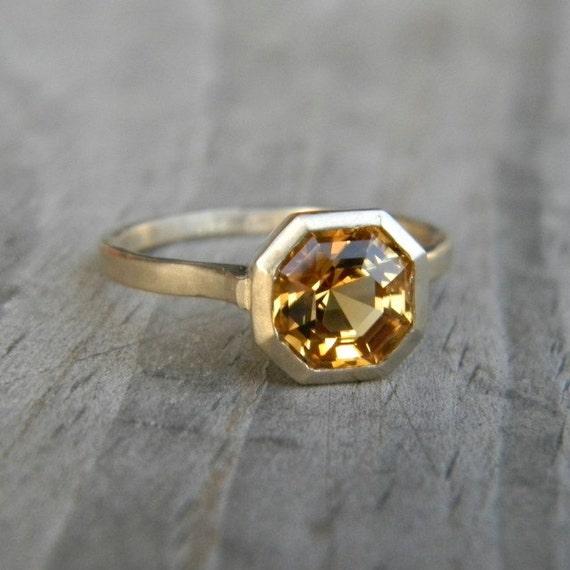 Asscher Cut Citrine set in 14k yellow Gold, Asscher Gemstone Ring, Solitaire Design Made To Order