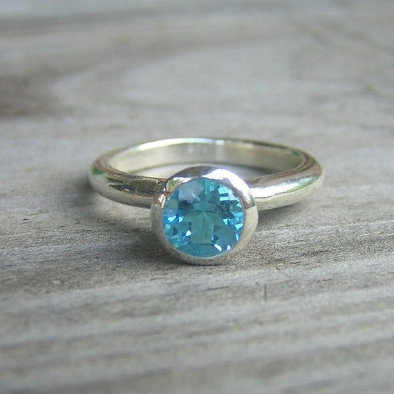 SIZE 8, Ready to Ship Something Blue, Sterling Stacking OR  Solitaire Ring