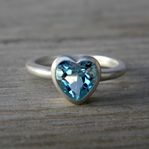 HEART On Your Sleeve Ring in Sky Blue Topaz & Sterling. Made To Order Heart Shaped Jewel Ring