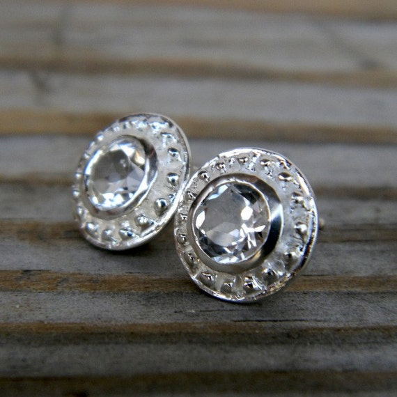 Ready To Ship, White Topaz and Sterling Siver Post Gemstone Earrings, Etruscan Stud Earrings