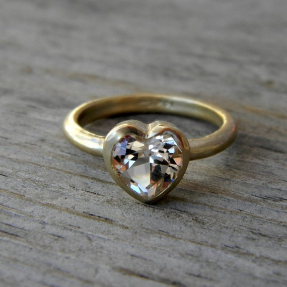 Size 7 Ready To Ship HEART of GOLD, White Topaz and 14k Yellow Gold