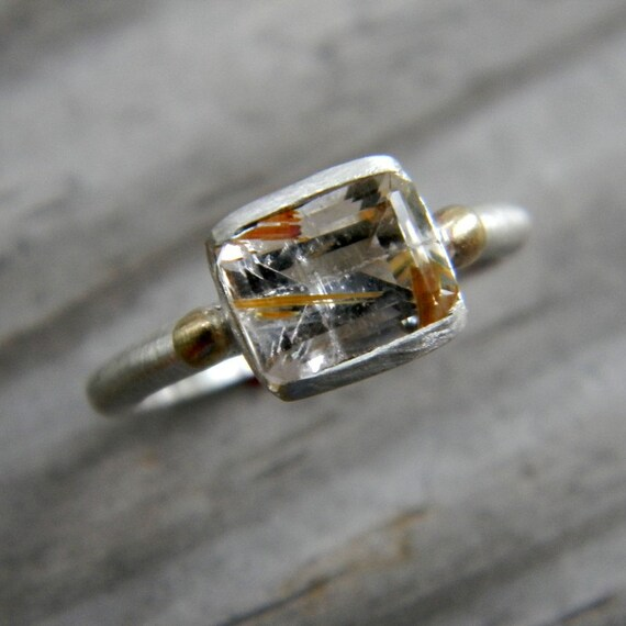 Rutilated Quartz Ring, 14k Gold and Argentium Sterling Silver, Emerald Cut Gemstone,  Ready To Ship Size 7