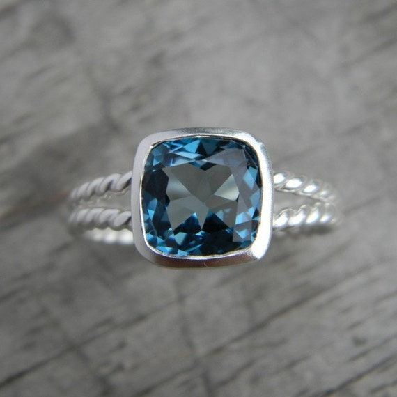4.25 Ready To Ship Rapunzel Ring In London Blue Topaz and Sterling Silver