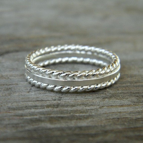Sterling Silver Rope Band, Made in Your Size