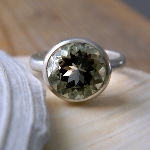 ROCK FETISH Ring in Green Amethyst and Matte Sterling Made to Order