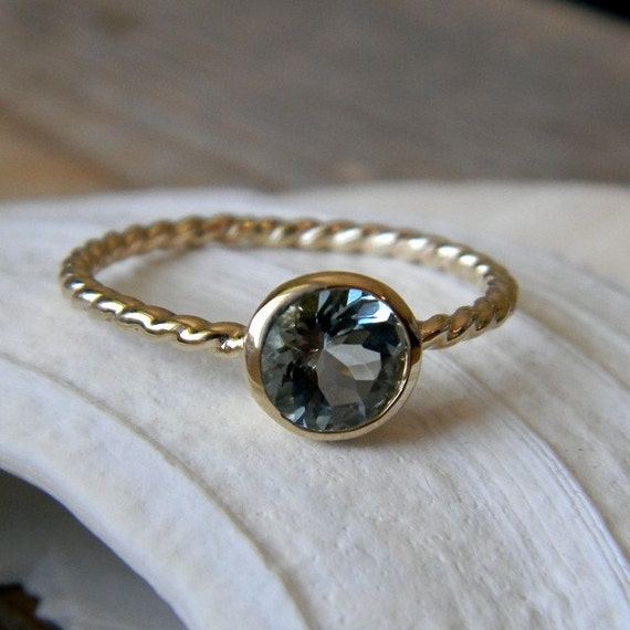Seafaring, Blue Aquamarine and 14k Yellow Gold Ring, SIZE 7.5