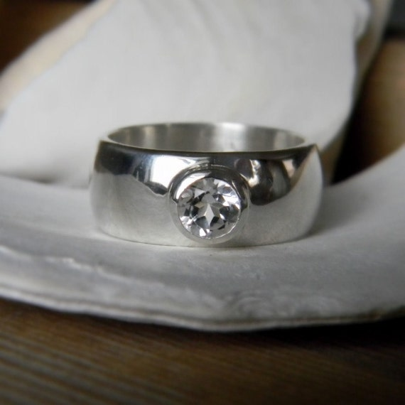 Low profile Wide Sterling Band, White Topaz Ring, Made To Order