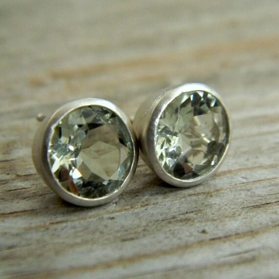 Mint Green Amethyst Prasioite 9mm Stud Earrings in Argentium