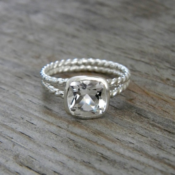 White Topaz Gemstone Ring, Tarnish Resistant Sterling Silver Ring,  Rapunzel
