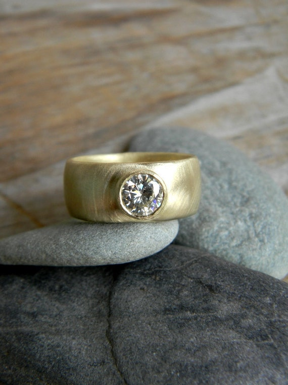 chunky gold engagement ring moissanite wide band ring