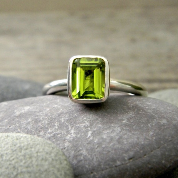 emerald cut peridot ring solitaire or stacker rings sterling