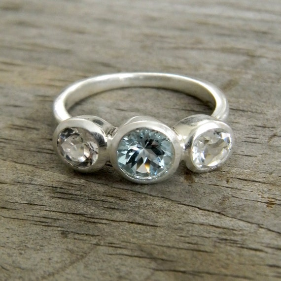 Aquamarine Ring with White Topaz, March Birthstone jewelry, Past Present Future or Anniversary Band