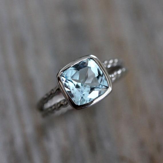 Sky Blue Topaz Ring, A Palladium 14k White Gold Ring, Rapunzel  Rope Band
