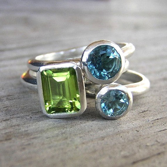 Peridot and Swiss Blue Topaz Gemstones Stacking Rings  in Sterling Silver