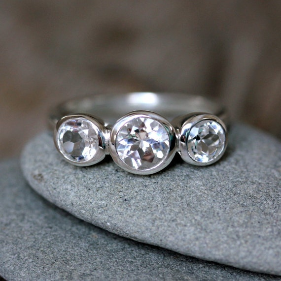 Three Stone White Topaz Ring,  Past, Present, Future  Gemstone 3 Stone Anniversary Gift
