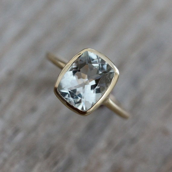 Cushion Aquamarine Ring Yellow Gold Engagement Ring March
