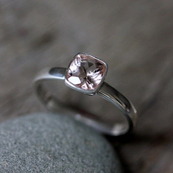 Morganite Cushion Gemstone Ring, Sterling Silver Ring, Ready to Ship Size 6