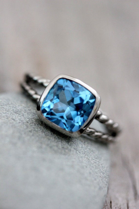 Swiss Blue Topaz Ring Featuring 14k Palladium White Gold, Made To Order