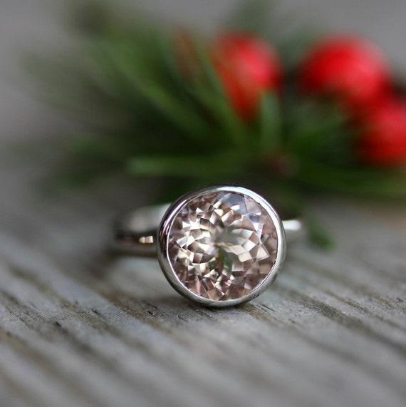 Morganite White Gold Gemstone Ring, 14k Palladium White Gold Solitaire Handmade Engagement Ring, Eco Friendly