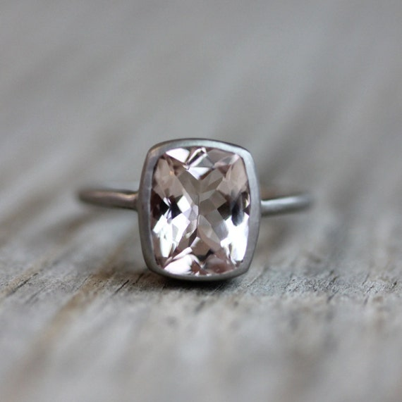 Morganite and 14k Palladium White Gold Ring, Made In Your Size
