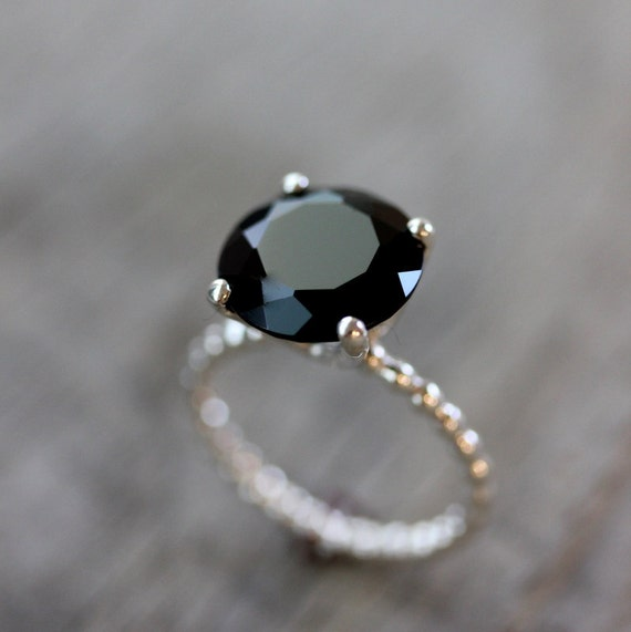 Black spinel precious gemstone and sterling silver solitaire for Precious stone wedding rings