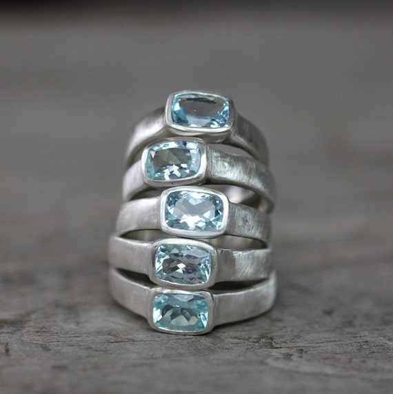 Aquamarine And Sterling Silver Ring, Cushion Cut Gemstone and Brushed Sterling Silver Ring, READY To Ship Size 8.25